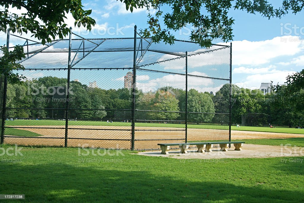 An empty softball field in Central Park, NY royalty-free stock photo