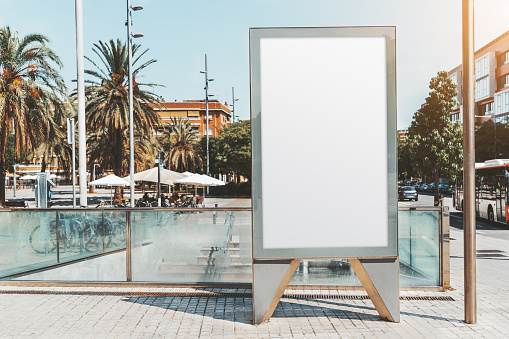 An empty urban outdoor poster mockup
