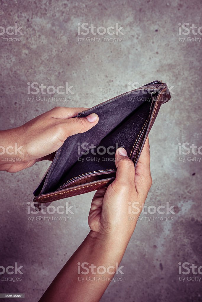 An empty wallet with filter effect retro vintage style stock photo