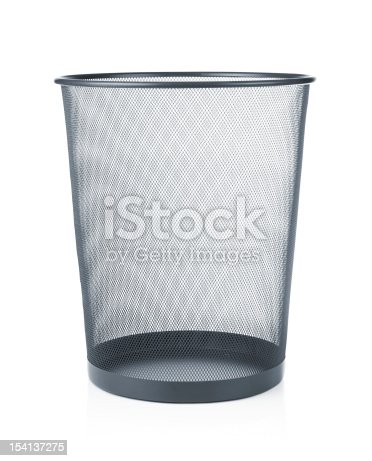 istock An empty waste paper basket in gray 154137275