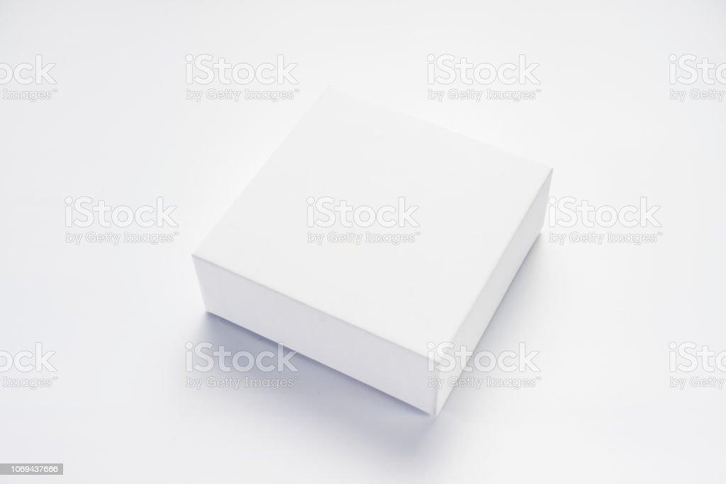 An empty white box stock photo