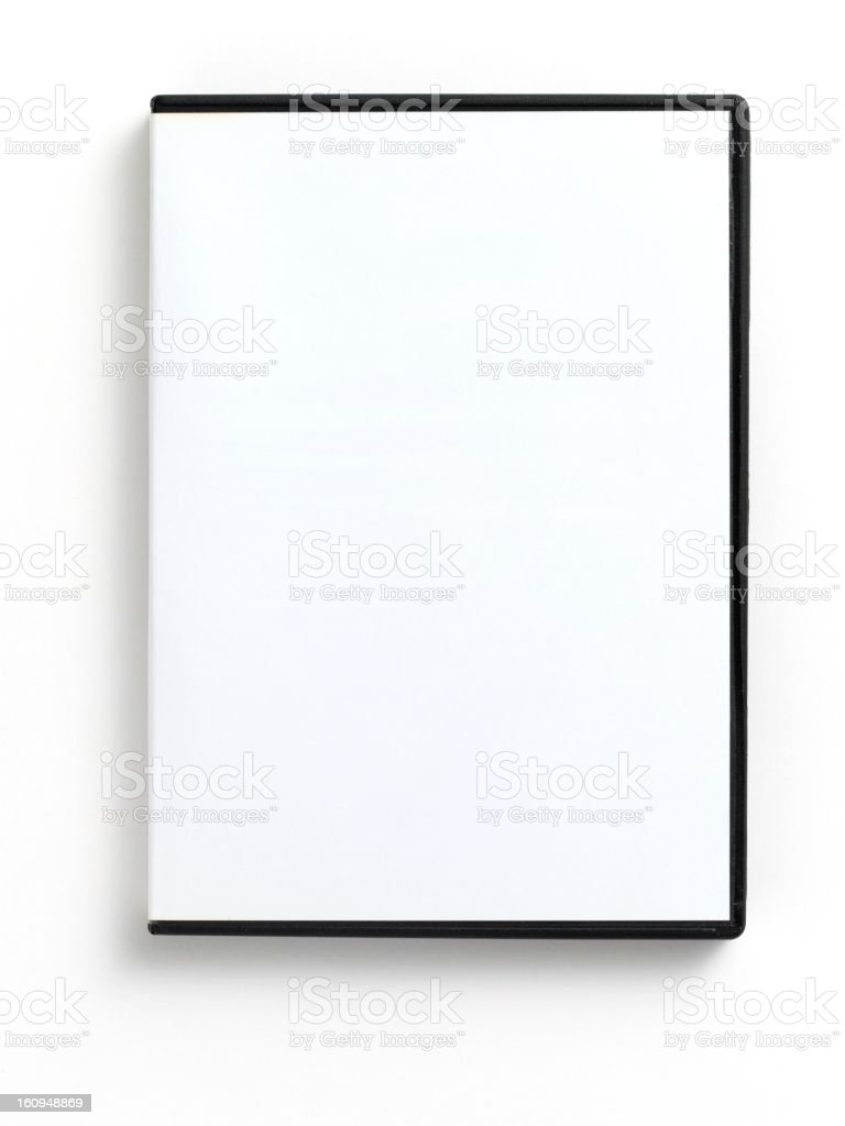 An empty white DVD case on a white background  royalty-free stock photo