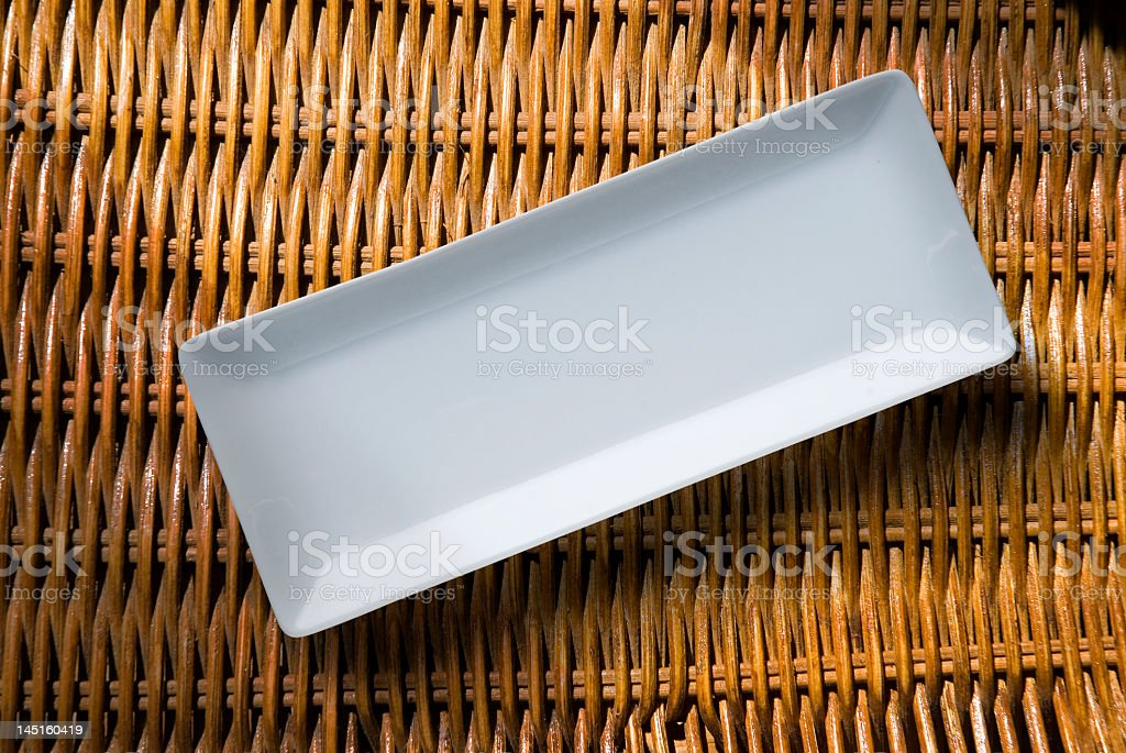 An empty white rectangular dish stock photo