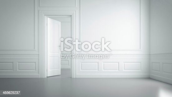 istock An empty white room with wall designs 455625237