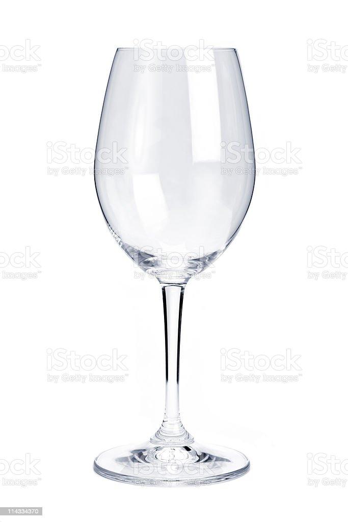 An empty white transparent wine glass stock photo