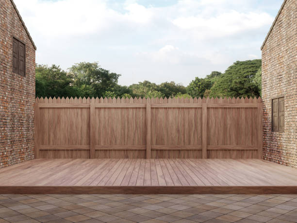 An empty wood terrace between old bricks building 3d render stock photo