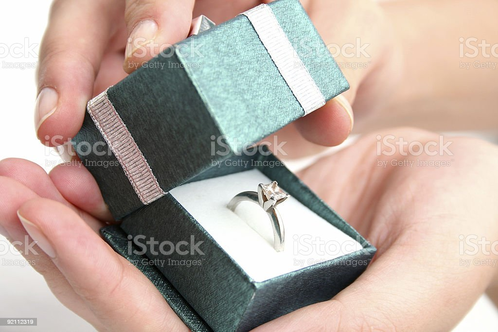 An engagement ring in a box ready for a proposal royalty-free stock photo