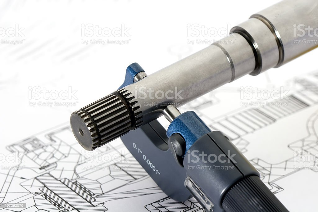 An engineering drawing and apparatus royalty-free stock photo