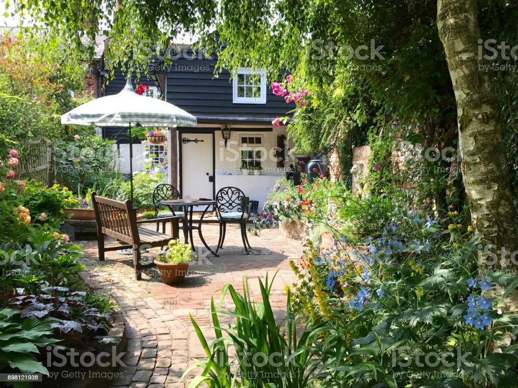 An English cottage garden stock photo