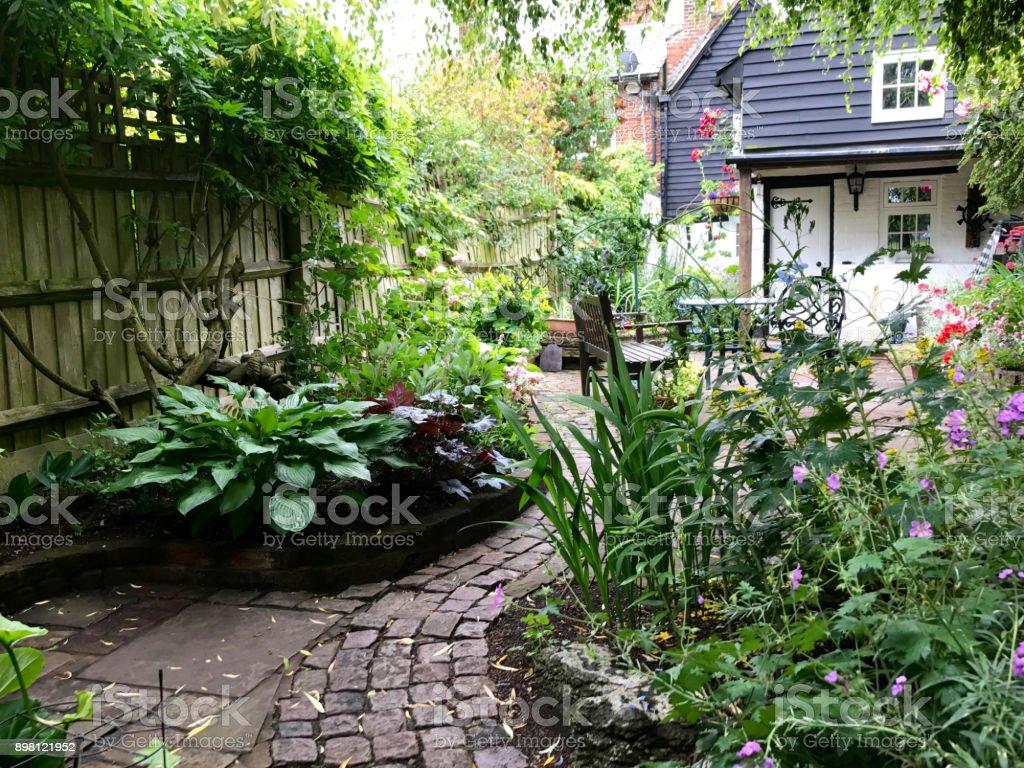 An English cottage garden stock photo