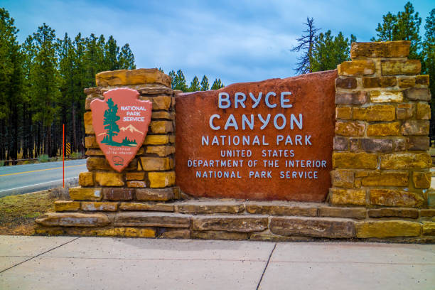 An entrance road going to Bryce Canyon National Park, Utah stock photo