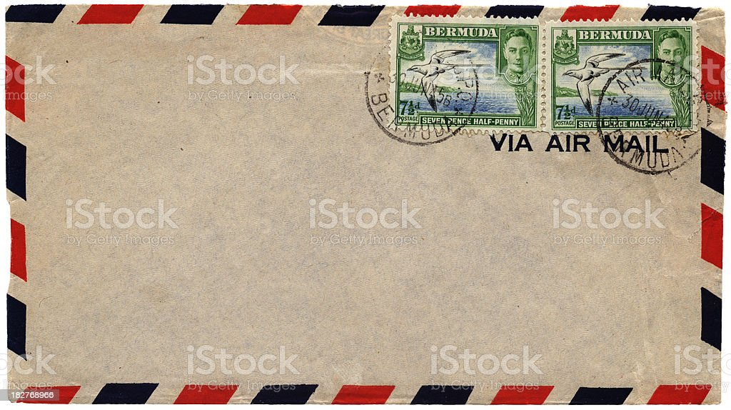 Envelope posted from Bermuda in 1945 stock photo