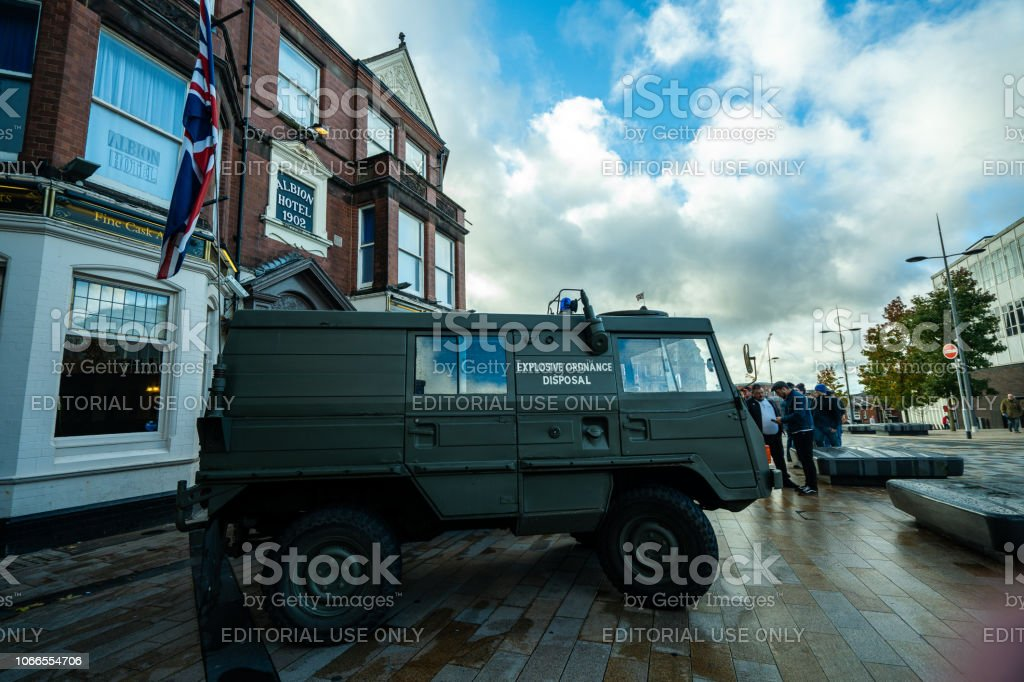 An EOD Army Vehicle (Explosive ordinance disposal ) attends the 100 year Remembrance Day parade, service in Albion Square, Hanley stock photo