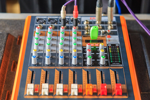 istock An Equalizer mixer controller with knobs and sliders for mini event. 896141698