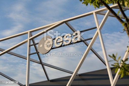 bremen, bremen/germany - 12 07 18: an esa sign outside an esa factory building in bremen germany