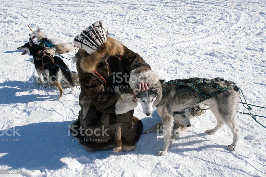 An eskimo caresses a sleigh dog stock photo