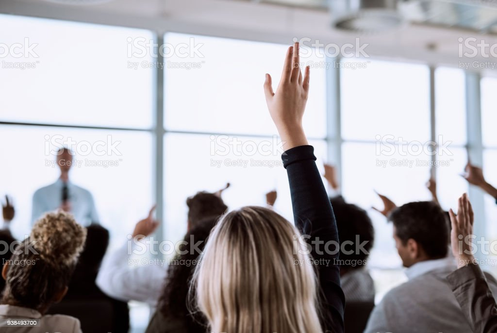 Q&A, an essential part of a professional presentation stock photo