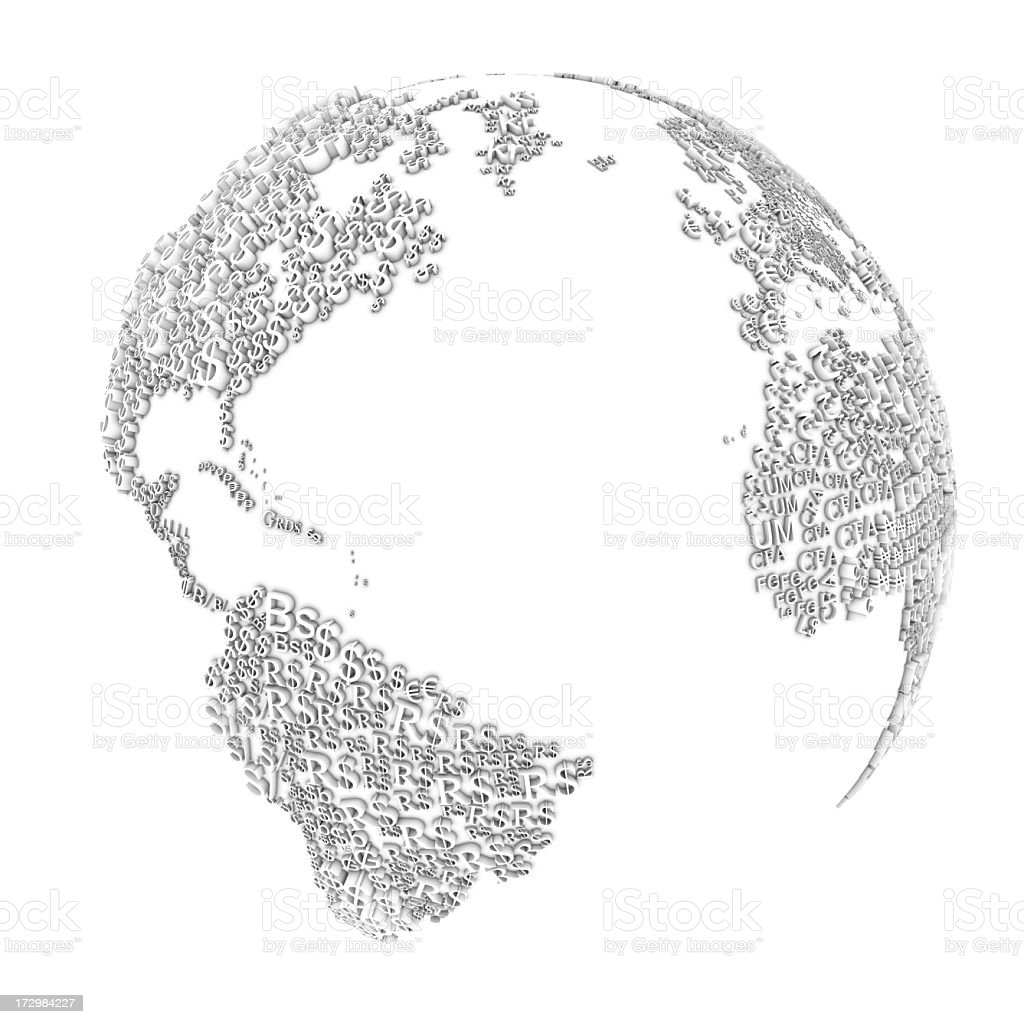 An etched gray globe representing global finance royalty-free stock photo