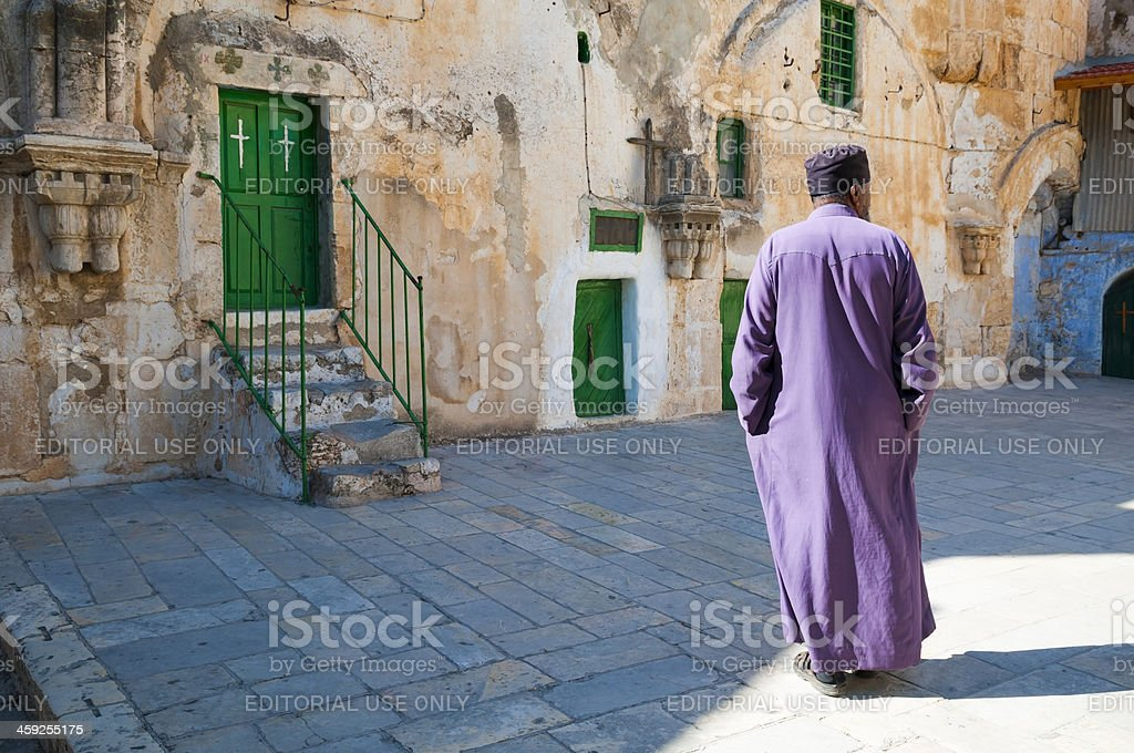 Ethiopian Orthodox monk at Holy Sepulchre Church royalty-free stock photo