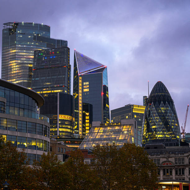 An evening looking into central London stock photo