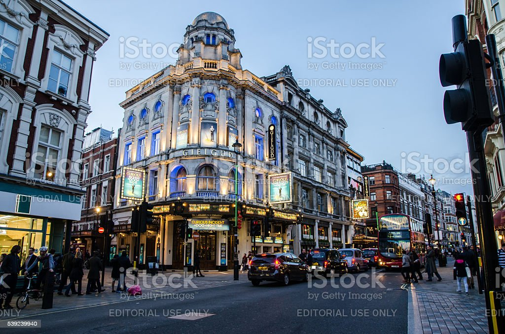 An evening on Shaftesbury Avenue in Soho London royalty-free stock photo