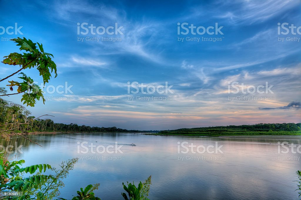 An evening view of a quiet river stock photo