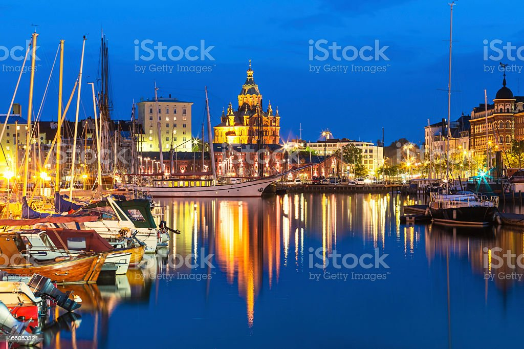 An evening view of Old Town in Helsinki, Finland stock photo