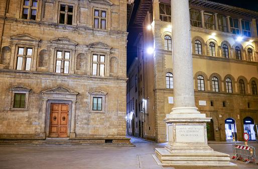 An evening view of Piazza della Santa Trinita in the historic center of Florence