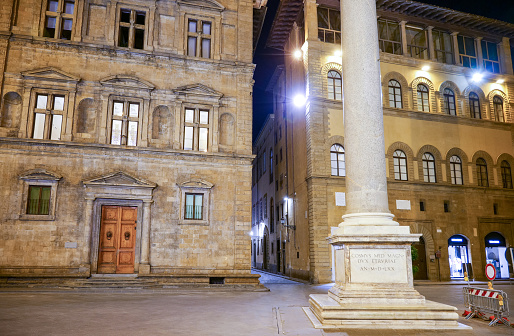 An evening view of Piazza della Santa Trinita in the historic center of Florence