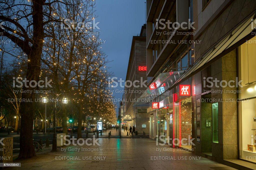 An evenivg Konigsalle in winter cold day stock photo