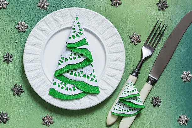 An example of a Christmas table decoration stock photo