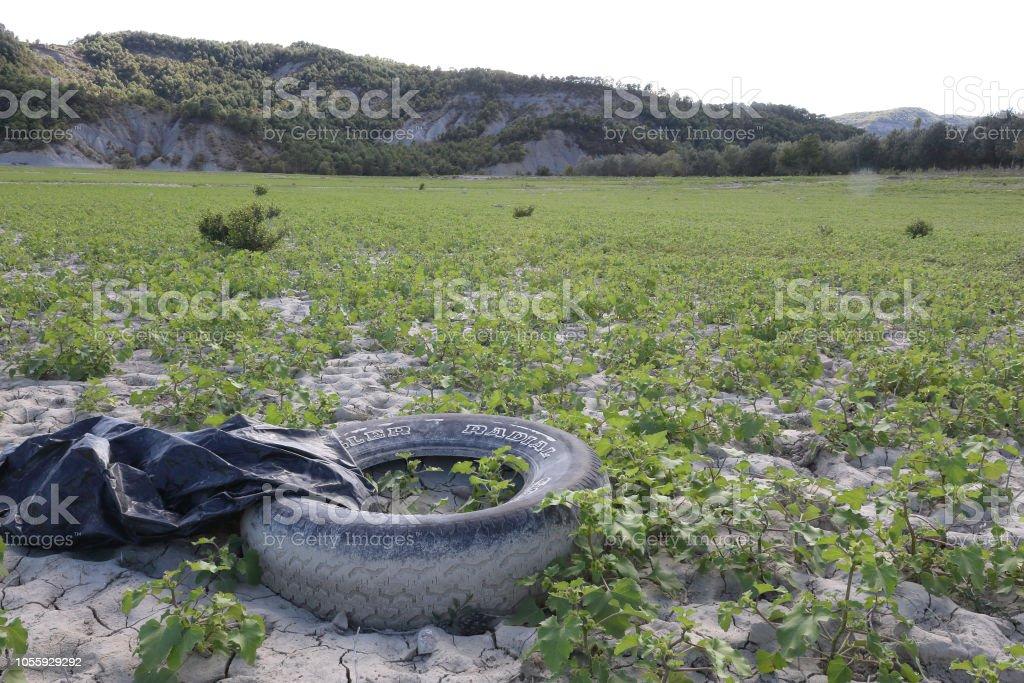 Un ejemplo de contaminación del ambiente debido a la basura: un neumático abandonado perdido en el verde césped, sobre arcilla seca del suelo, en el lago artificial del Mediano en el Pirineo Aragonés Español - foto de stock
