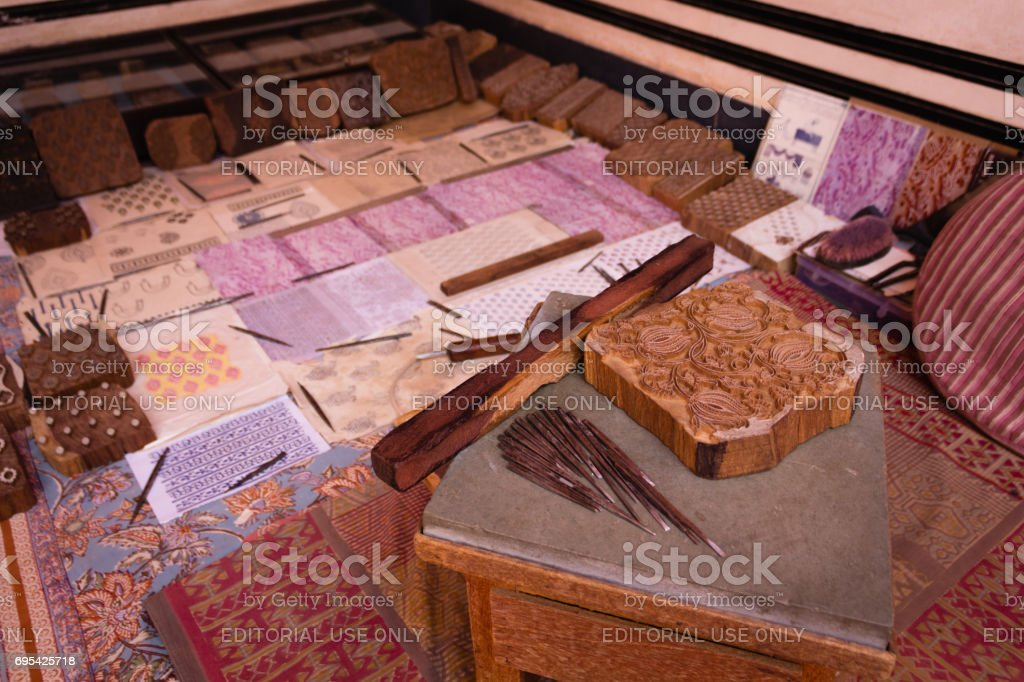 An example of wooden block at Anokhi Museum of Hand Printing stock photo