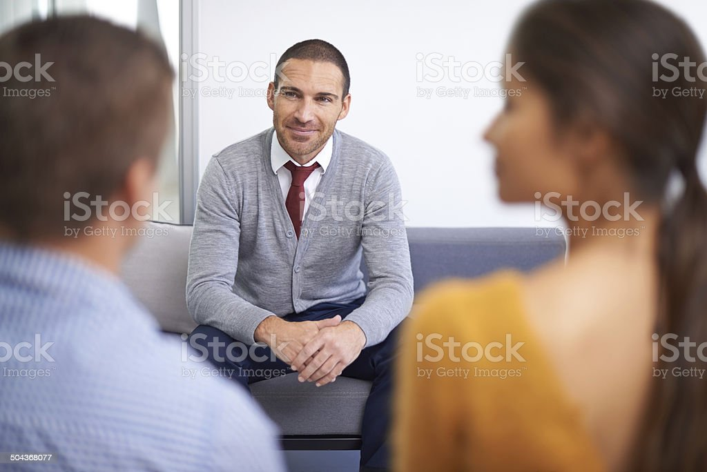 An exciting job interview stock photo