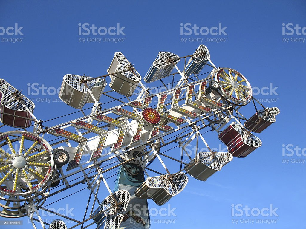 An exciting thrill ride in a theme park stock photo