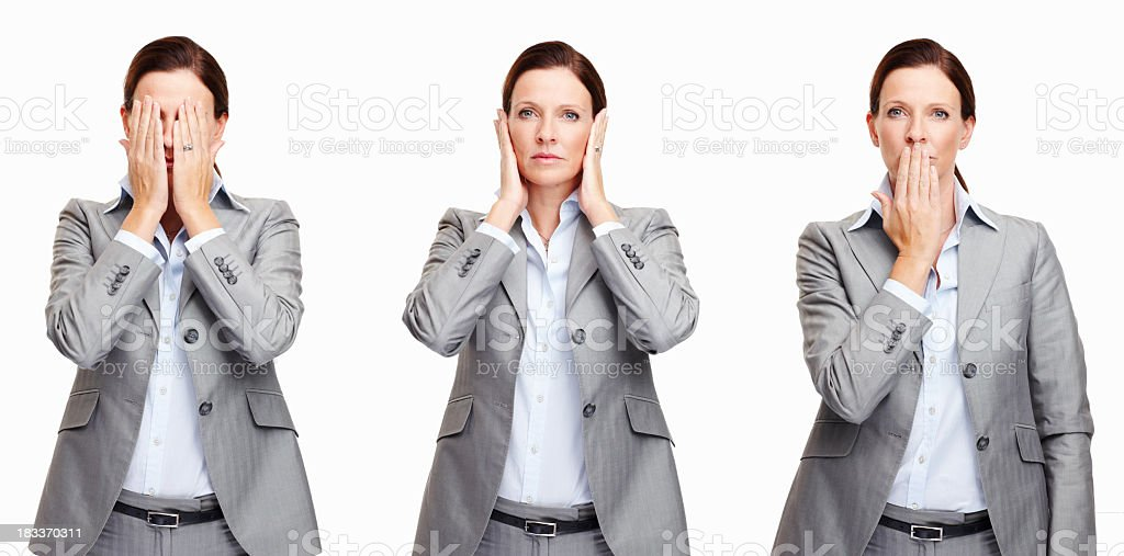 An executive female with different gestures stock photo