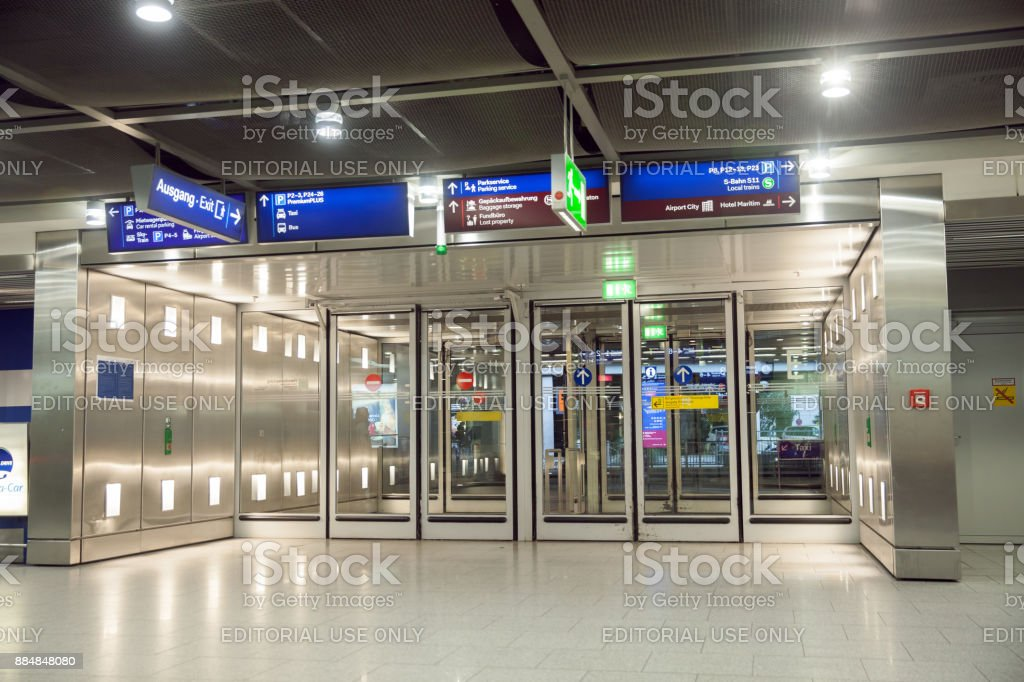 An exit of International Dusseldorf's airport (DUS) stock photo