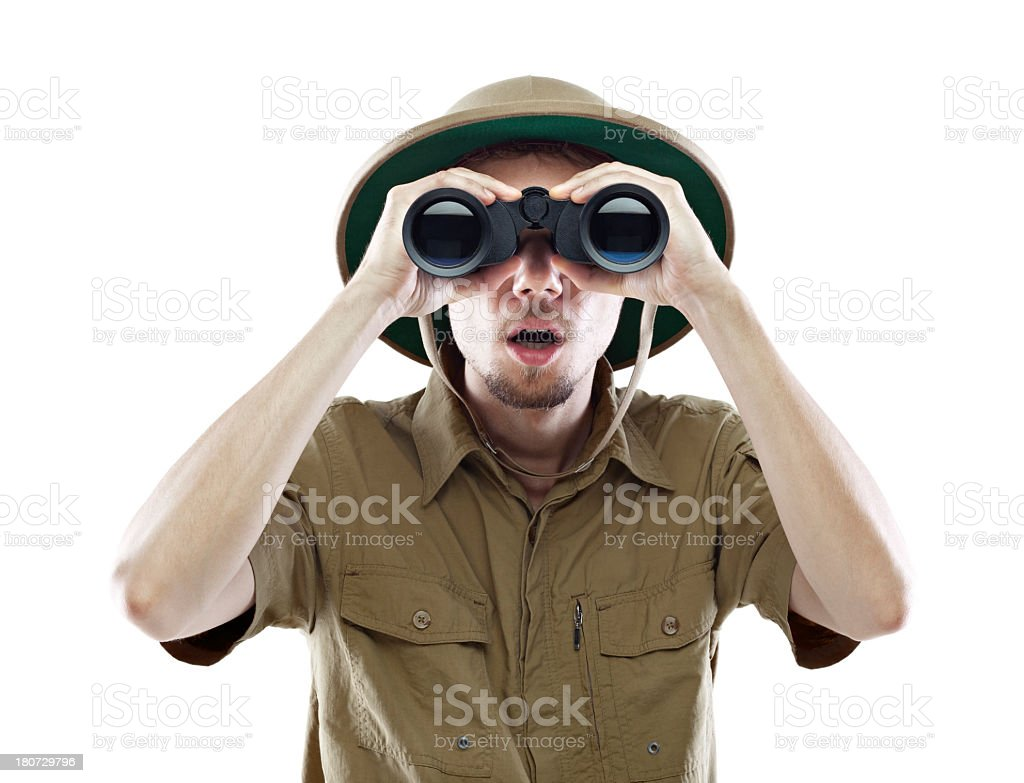 An explorer was surprised in what he saw in his binoculars  stock photo