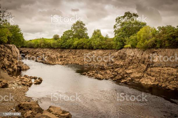 Photo of An exposed gorge on the Water of Ken in Galloway, due to draining Earlstoun Dam