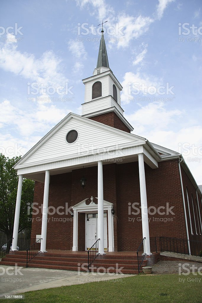 An exterior of an old country church stock photo