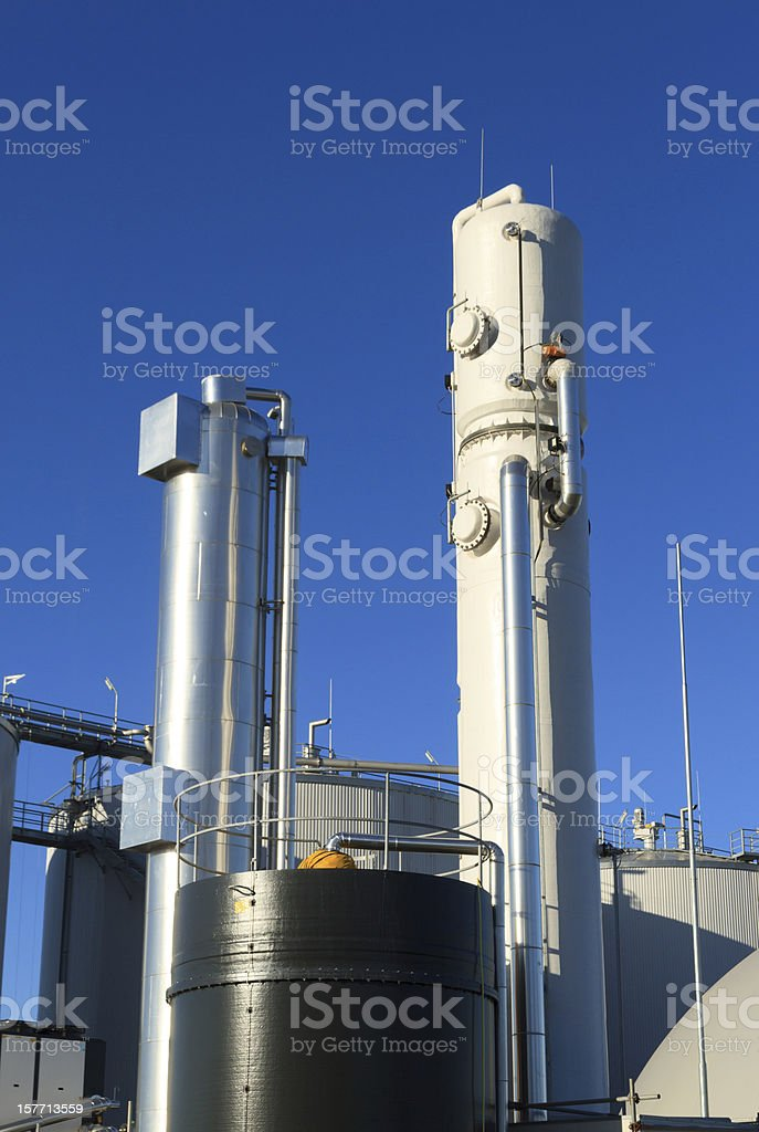 An exterior shot of a biogas plant on a sunny day stock photo