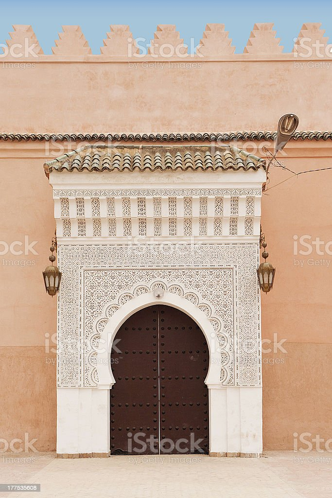 An external port of El Badi Palace in Marrachesh stock photo