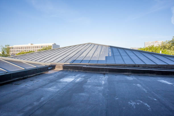 an flat roof on a high building stock photo
