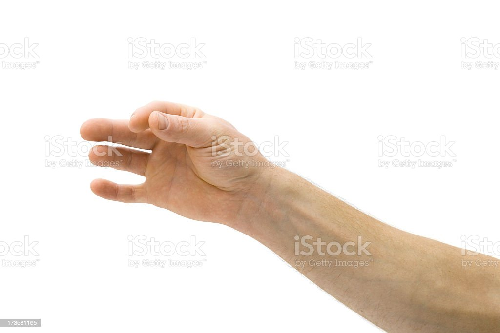 An hand with thumb and fore finger pinched together royalty-free stock photo