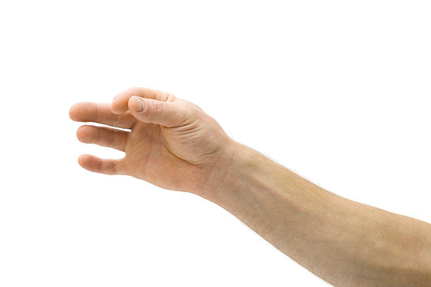 An hand with thumb and fore finger pinched together stock photo