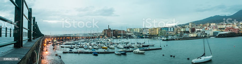 An high panorama view  of Torre Del Greco harbour stock photo