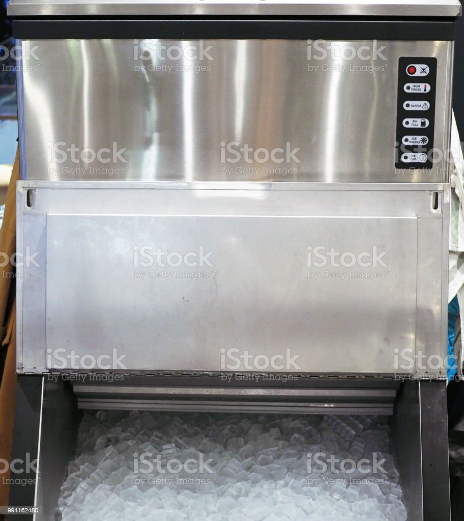 An ice making machine which placed in modern restaurant. stock photo