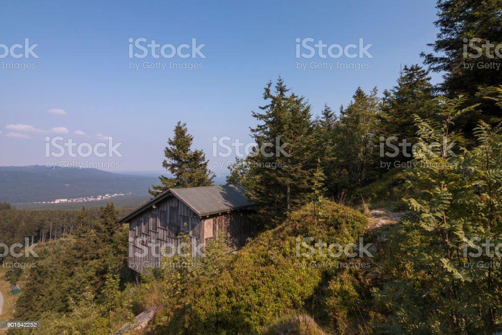 An idyllic mountain hut on a mountain in the Harz stock photo