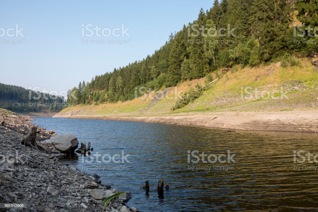 an idyllic river in a valley in the Harz stock photo