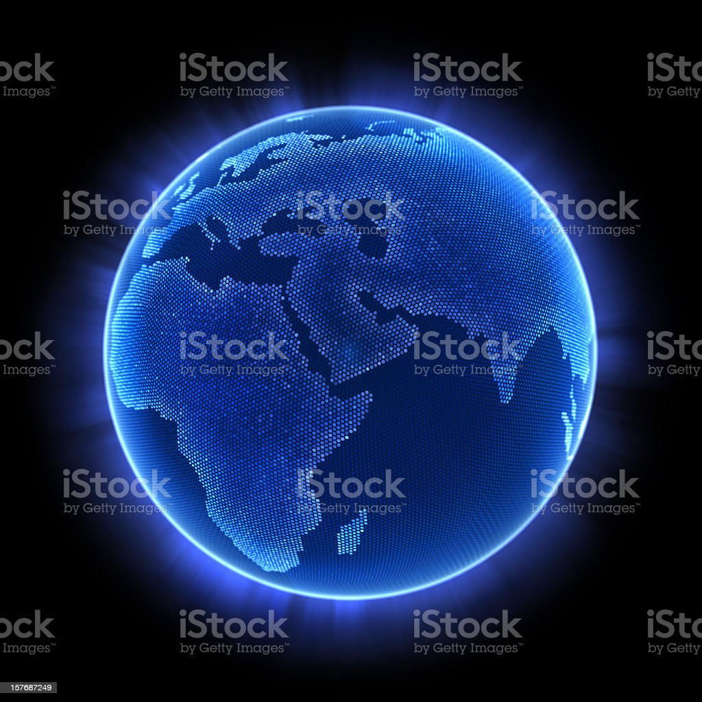 An illuminated image of the earth with blue lighting royalty-free stock photo